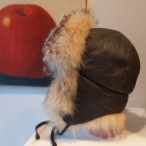 Cabela's Leather Fur Burning Man Hat Aviator Bombe